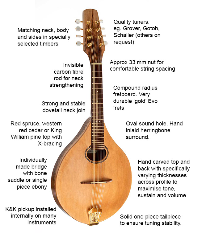 Andrew Tatnell mandolin feature list: matching neck, body and sides in specially selected timbers; invisible carbon fibre rod for neck strengthening; strong and stable dovetail neck join; old growth red spruce or King Willian pine top with x-bracing; K&K pickup installed on many instruments.